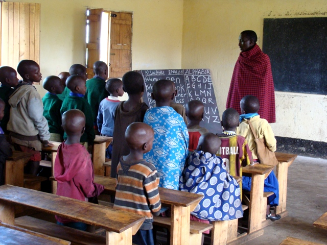 Maasai children learning English